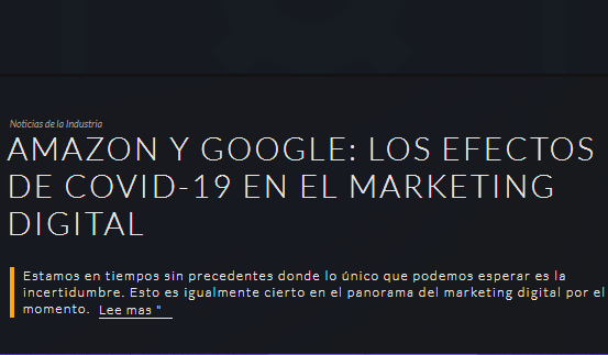 Amazon y Google: efectos de COVID-19 en el Marketing online