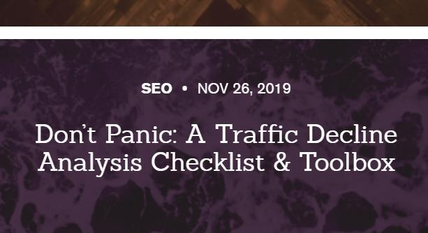 SEO: Checklist y Apps de análisis de disminución de Tráfico