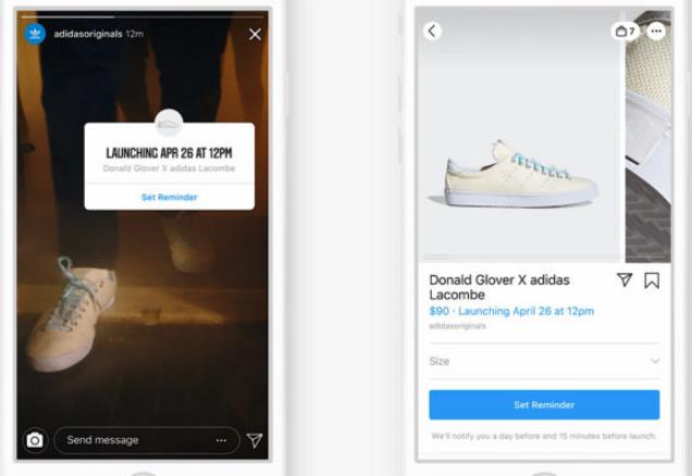 Instagram: Recordatorios de lanzamiento de productos