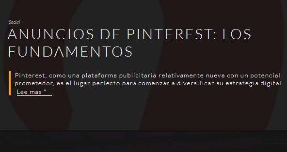 Pinterest: los fundamentos de los anuncios