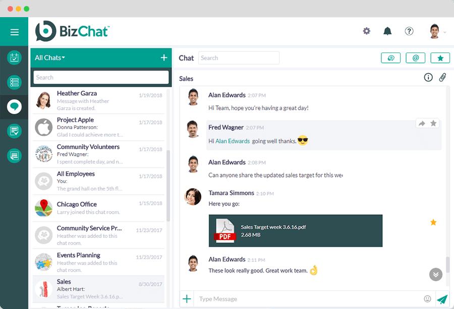 BizChat: Comunicación y colaboración en equipo