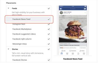 Ubicaciones de anuncios de Facebook para vendedores